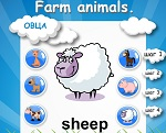 "Learning English words. The topic ""Farm animals"""