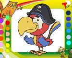 """Раскраска онлайн """"Попугай пират"""""""