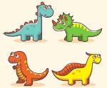 """Раскраска """"Четыре динозаврика"""""""